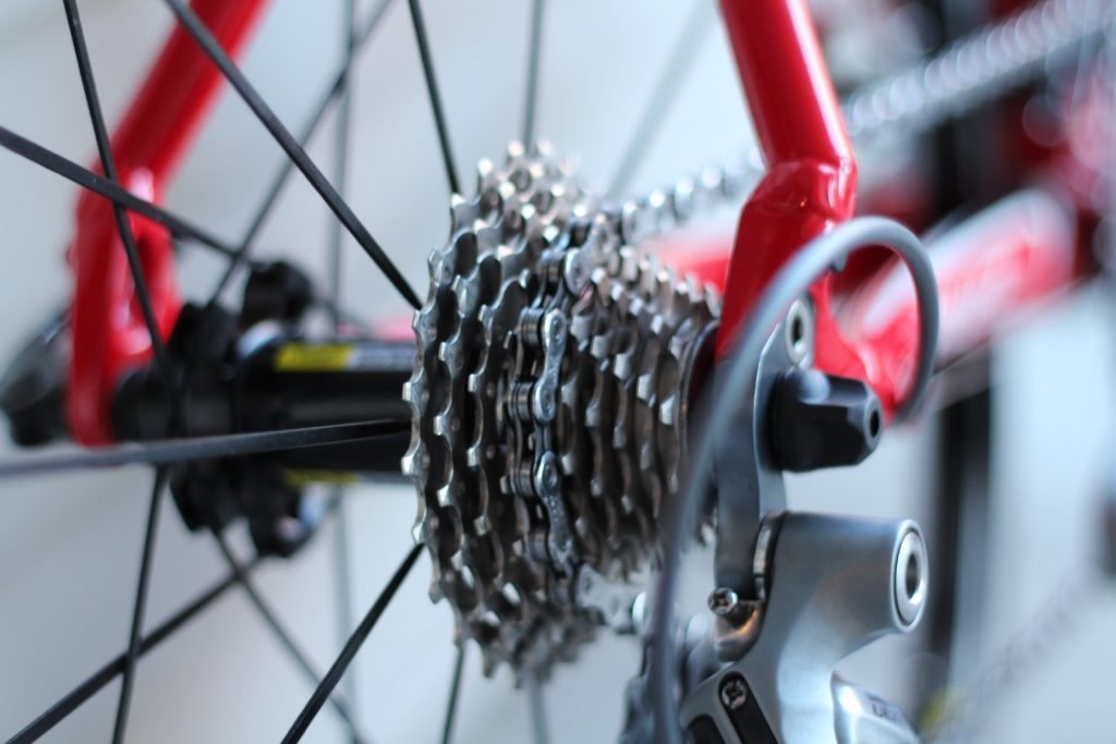 closeup of a bike chain