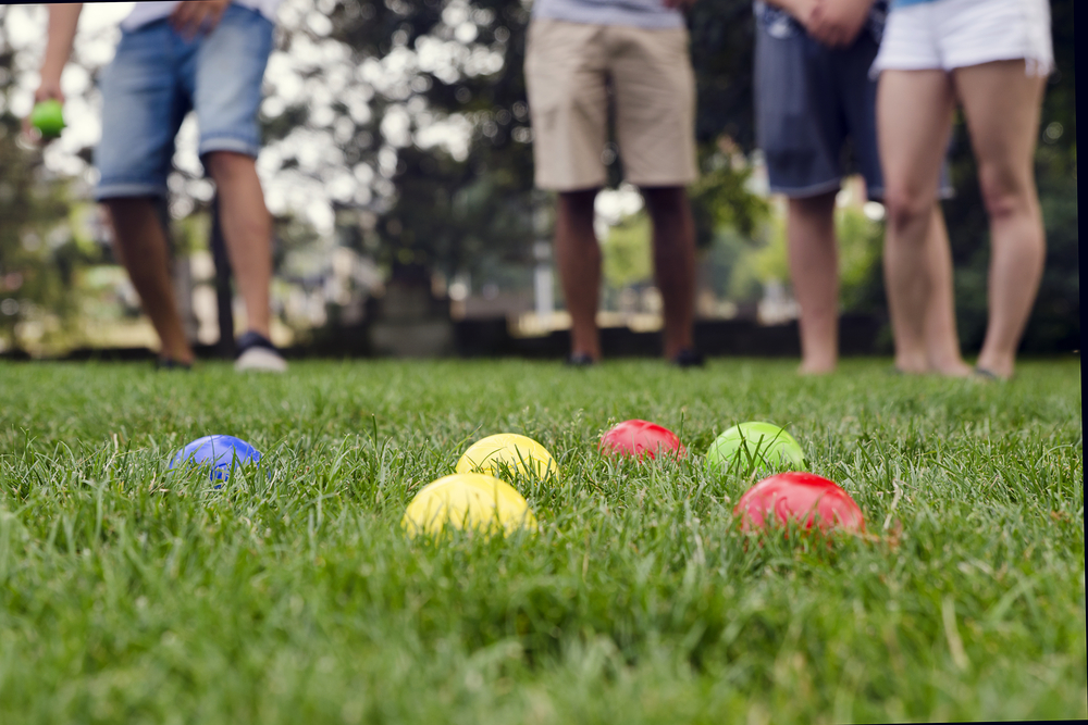 friends playing bocce ball