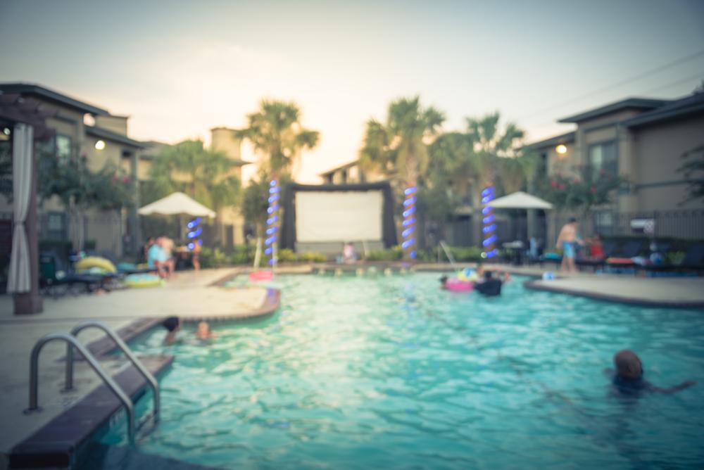 screen at a pool
