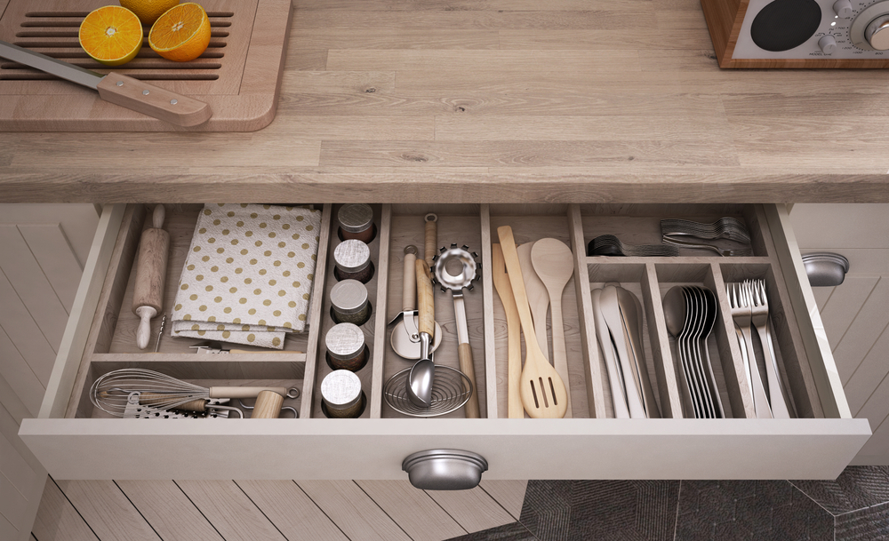 an organized kitchen drawer