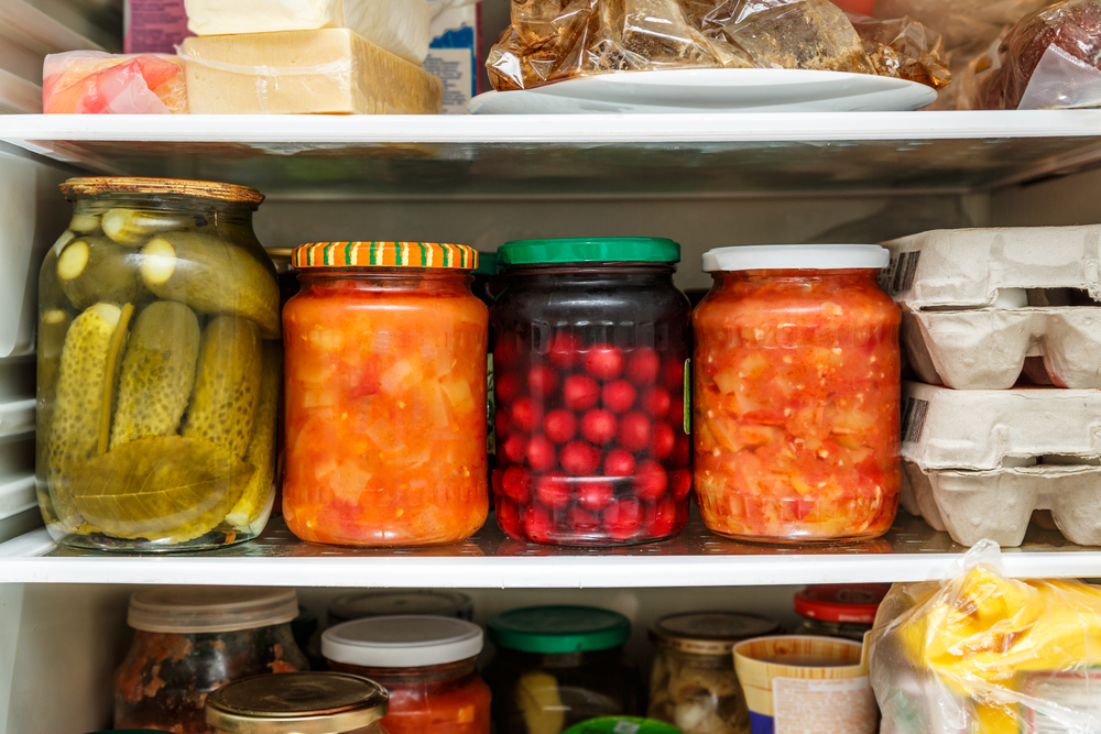 jars in a refrigerator