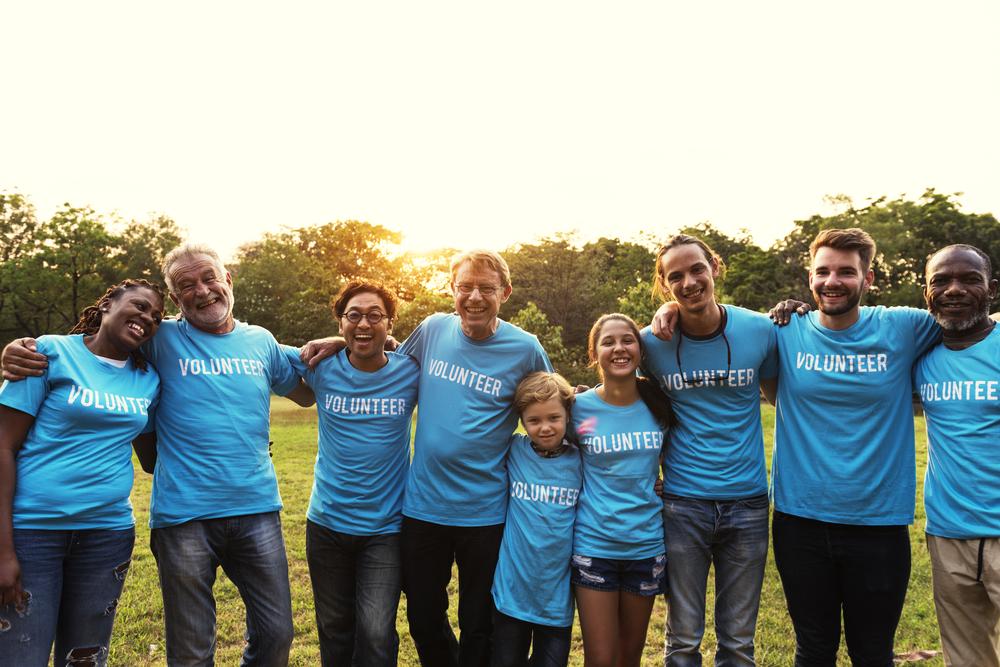 a group of people volunteering