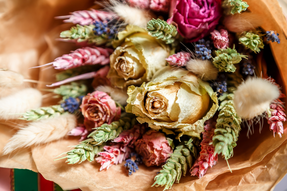 a bouquet of dried flowers