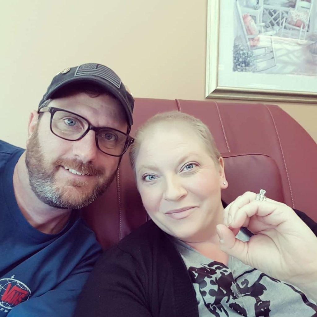 Brooke at her last chemo treatment