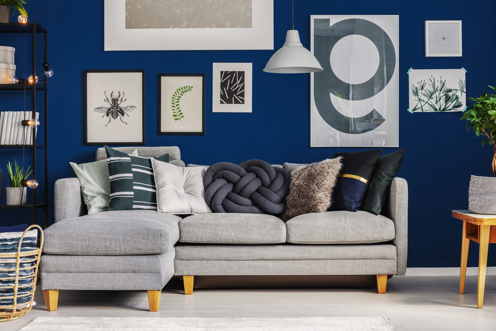 blue living room with a gallery wall