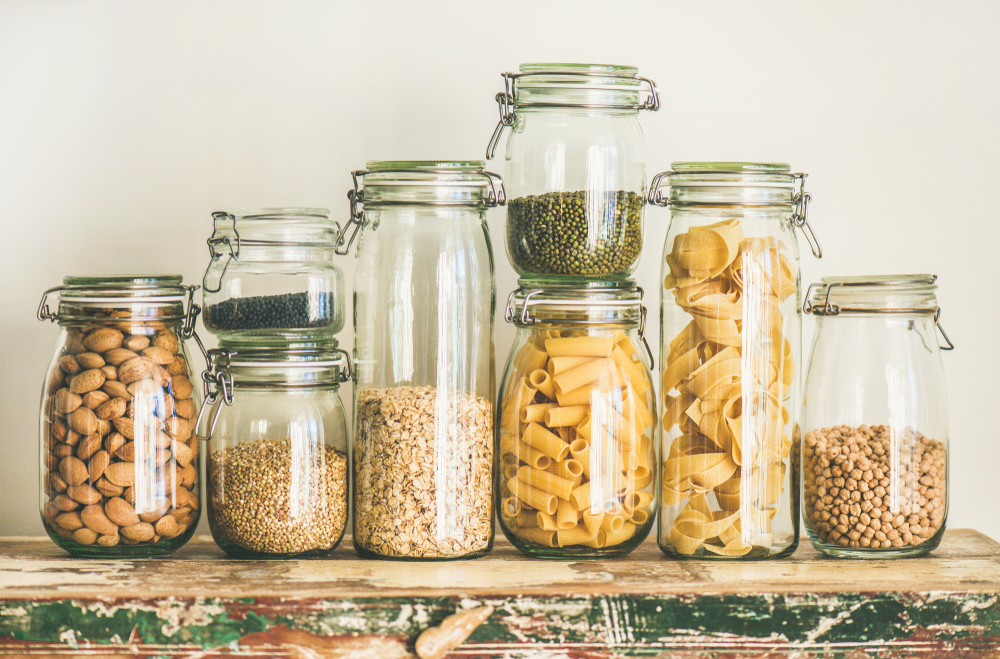 jars filled with dry goods