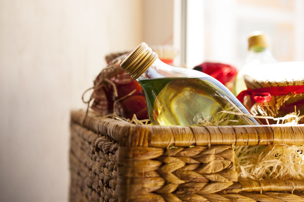 a basket filled with food from the pantry