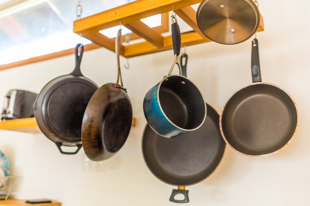 hanging pots in a kitchen