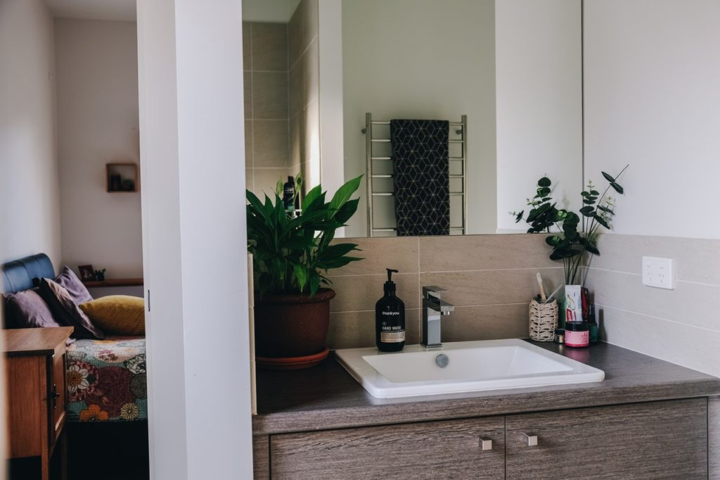 plants in a bathroom