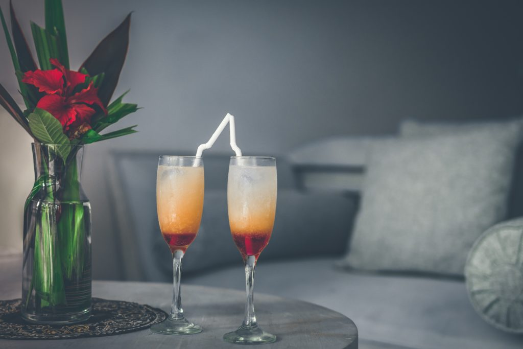 bubbly cocktails on a coffee table | creative summer cocktails
